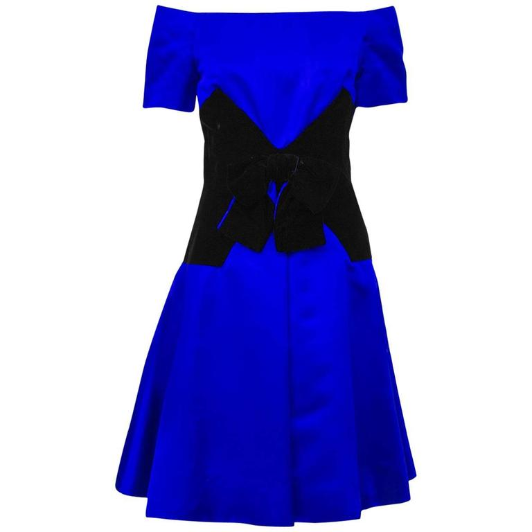 1980's Scaasi Royal Blue Satin and Black Velvet Cocktail Dress
