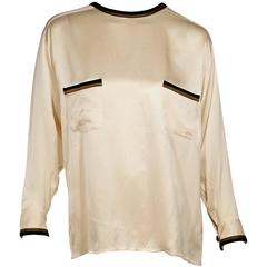 Ivory Vintage Chanel Silk Top