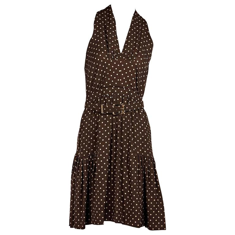 Brown Vintage Chanel Polka Dot Dress For Sale