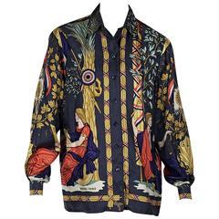 Multicolor Vintage Hermes Printed Silk Top