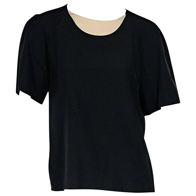 Black Vintage Chanel Silk Top