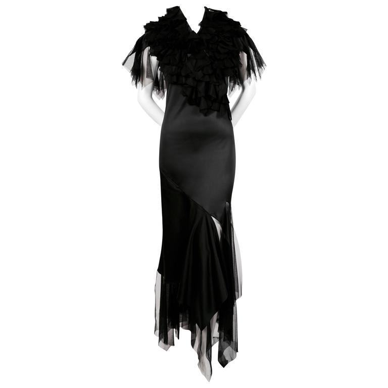 very rare 2001 ALEXANDER MCQUEEN black dress with spiral zipper & tulle ruffles