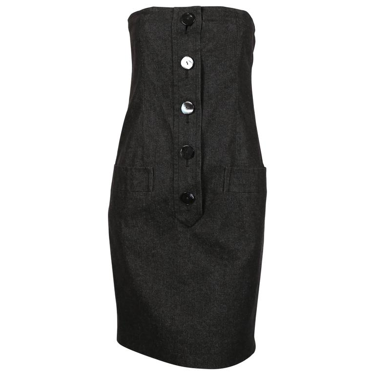Yves Saint Laurent black denim strapless dress with shell buttons, 1980s