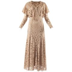 1930s champagne silk lace bias cut evening dress and bolero