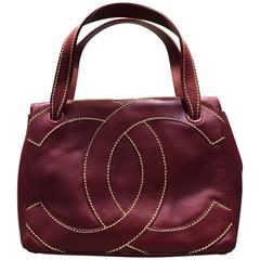 "Chanel Red Lambskin Wild Stitch ""CC"" Logo Bag"