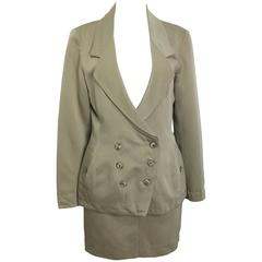 Alaia Khaki Double Breasted Jacket and Skirt Ensemble