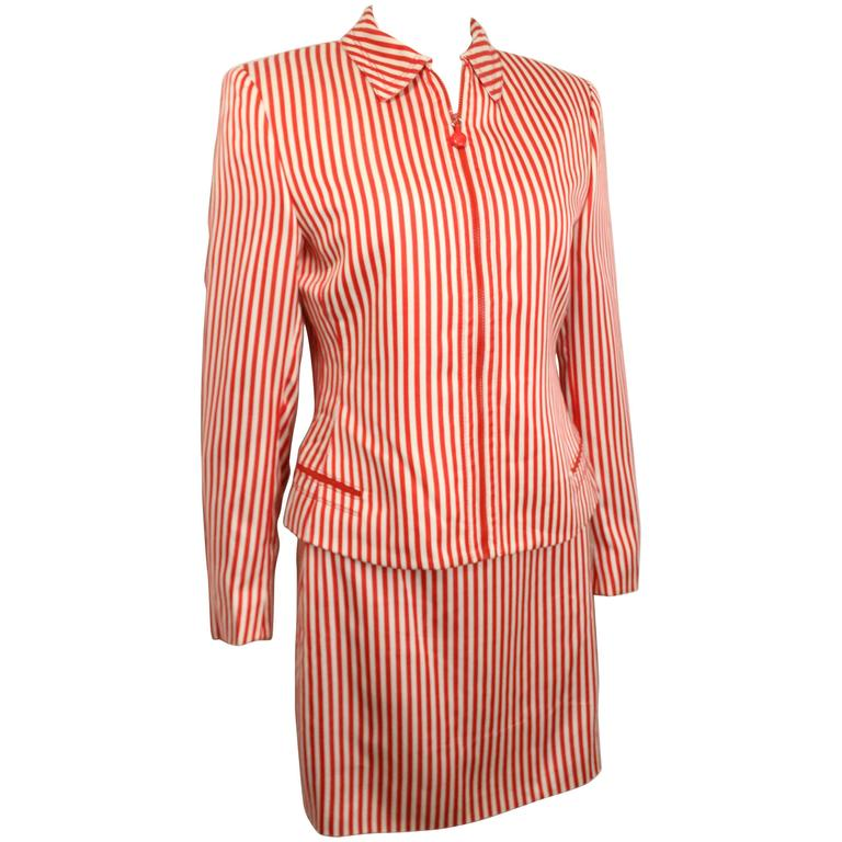 Gianni Versace Couture Red and White Stripe Silk Jacket and Skirt Ensemble