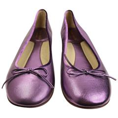 Kate Spade Purple Metallic Leather Ballerina Flats