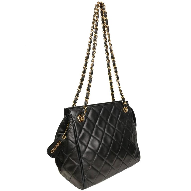 Chanel Black Quilted Lambskin Leather Petite Timeless Shoulder Strap Tote For Sale