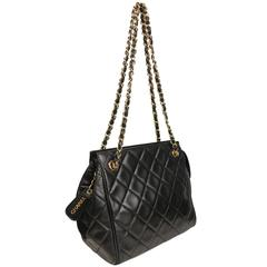 Chanel Black Quilted Lambskin Leather Petite Timeless Shoulder Strap Tote