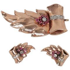 VINTAGE 14k Rose Gold DECO PARURE EARRINGS & BROOCH Set w/Diamonds & Rubies