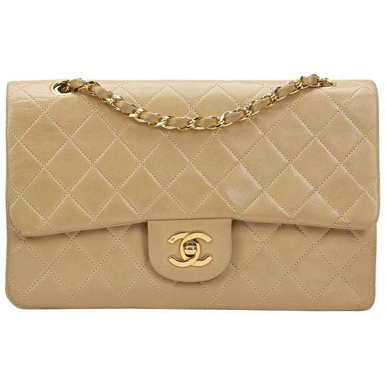 1990 Chanel Beige Quilted Lambskin Vintage Medium Classic Double Flap Bag  For Sale 966b958e534df