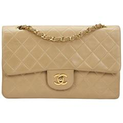 Chanel Beige Quilted Lambskin Vintage Medium Classic Double Flap Bag 1990s