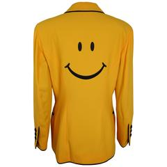 """Moschino Couture Yellow Iconic """"Smiley Face"""" Black Piping Blazer"""