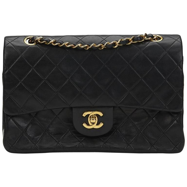 6f844bda2e9e 1990s Chanel Black Quilted Lambskin Vintage Medium Classic Double Flap Bag  For Sale