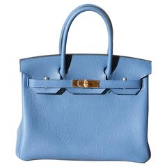 HERMES BIRKIN Bleu Agate Taurillon Clémence 30'