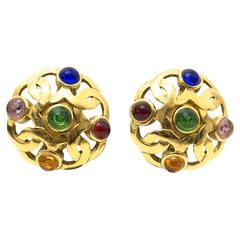 Chanel Vintage Multi-color Clip Earrings