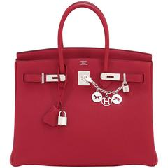 Hermes Rouge Grenat 35cm Birkin Togo Garnet Red Palladium Hardware Sophisticated