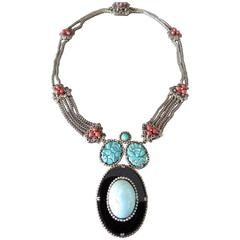 Vintage Chinese Silver Carved Turquoise Coral Onyx Filigree Necklace
