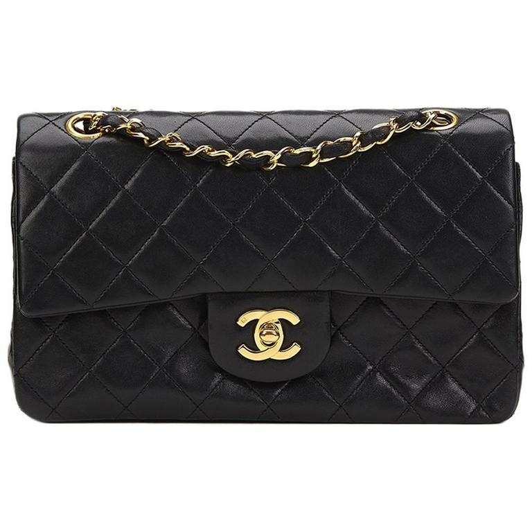 1990s Chanel Black Quilted Lambskin Vintage Small Classic Double Flap Bag 1