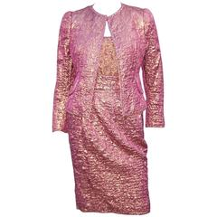 Futuristic Glam 1970's Adolfo Pink & Gold Cocktail Suit