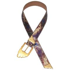 1980's Purple & Gold Leather Belt With Sculptural Buckle