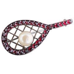Victorian Bohemian Garnet Pearl Tennis Racket Brooch Czech