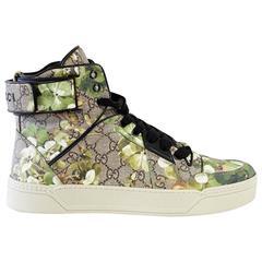 GUCCI Shoe Men's Blooms Monogram Canvas Blooms High Top Sneaker  9 G