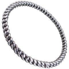 Vintage Danish Silver Rope Modernist Bracelet Bangle