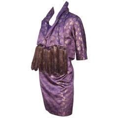 C.1950 Purple & Gold Toile Wiggle Dress With Jacket & Mink Scarf