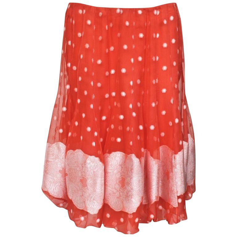 Nina Ricci Tangerine and White Floral Embroidery Silk Skirt