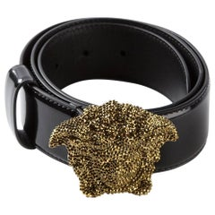 Versace Black Leather Swarovski Crystal 3D Medusa Belt