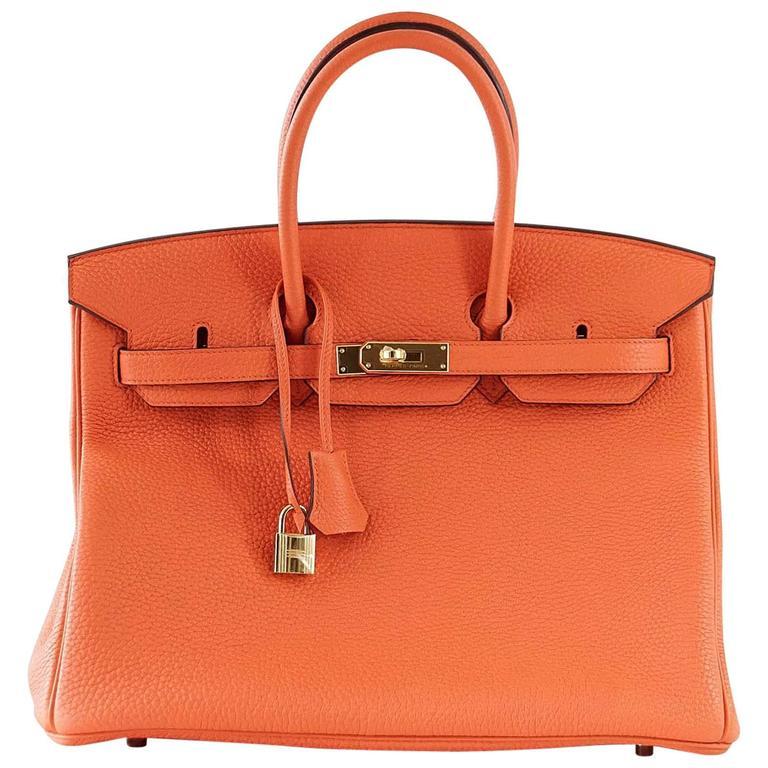 Hermes Birkin 35 Bag Orange Poppy Togo Gold Hardware