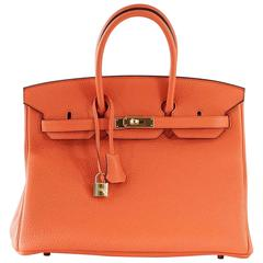 Hermes Birkin 35 Bag Orange Poppy Togo Gold Hardware