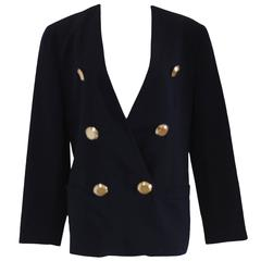 Genny by Gianni Versace Blu Wool Gold Bottons Jacket