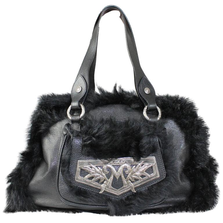 1990s Moschino Black Fur and Leather Hand Bag  For Sale