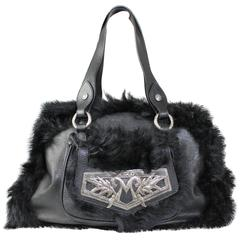 1990s Moschino Black Fur and Leather Hand Bag