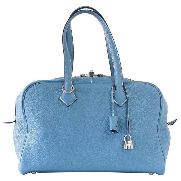 Hermes 35 Victoria II Bag Blue Jean Palladium Hardware For Sale