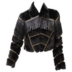 F/W14 Look #19 VERSACE FUR JACKET with STUDS, CRYSAL and LEATHER FRINGE 38 - 2