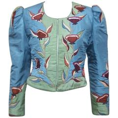 Art Nouveau Style 1970's Hand Painted SIlk Bolero Jacket