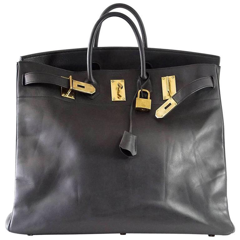 HERMES BIRKIN 50 Bag Hac Black Vache Noir Leather Brass Hardware 1