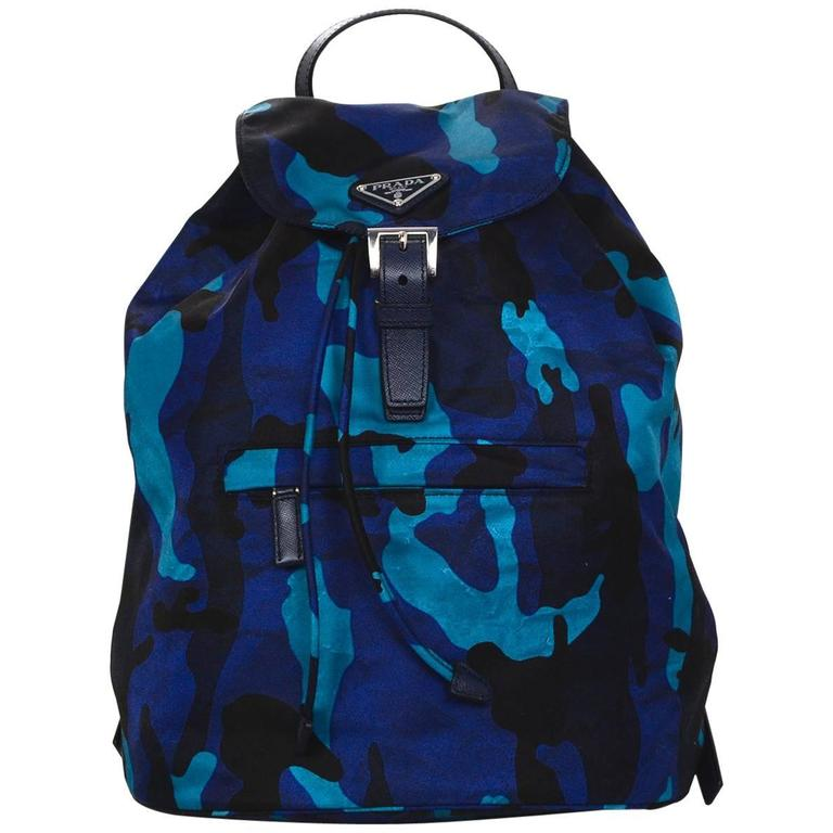 085b8680509e Prada Black and Blue Camo Print Nylon Backpack Bag For Sale at 1stdibs