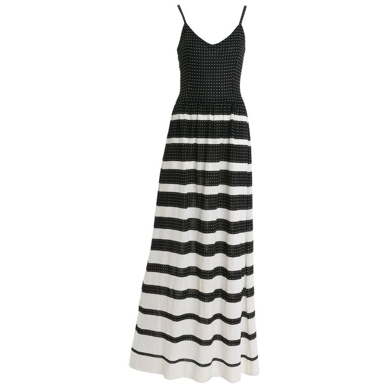 1970s LANVIN Black and White Knitted Long Dress For Sale