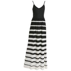 1970s LANVIN Black and White Knitted Long Dress