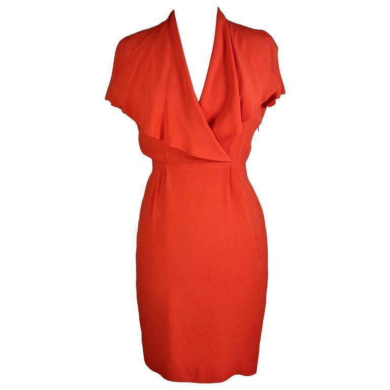 1980s Fendi Peach Silk Blend Sheath Dress Evening Gown at 1stdibs