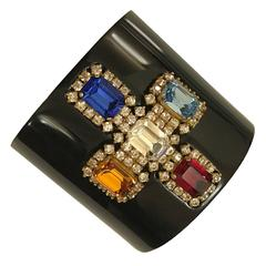 Chanel 1995 Black Resin Cuff Bracelet with Multi Color Crystal Cross