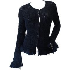2002 Chanel Cruise Black Crochet Sweater