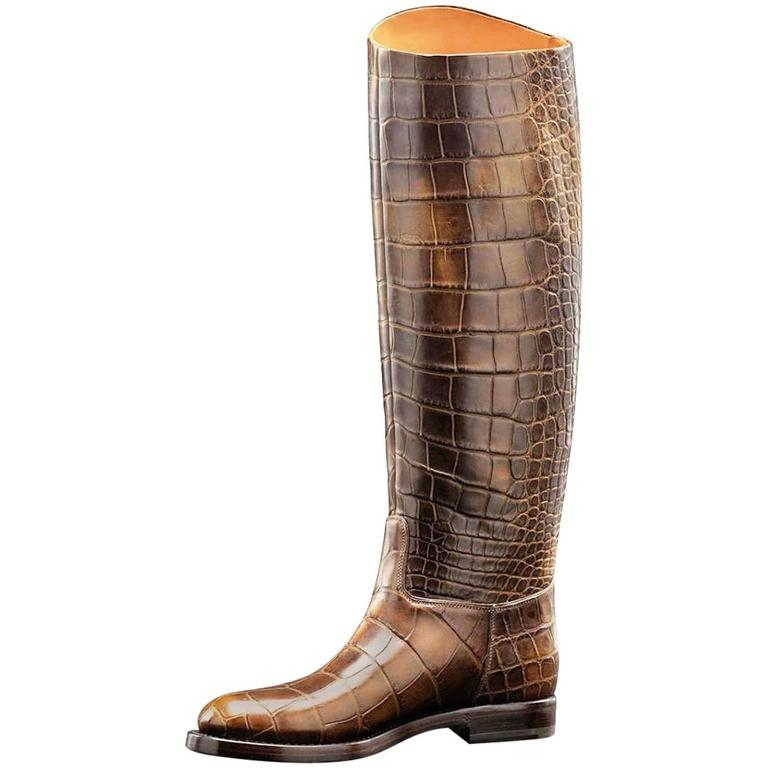 Amazing Gucci Crocodile Skin 1921 Collection Crest Riding Boots
