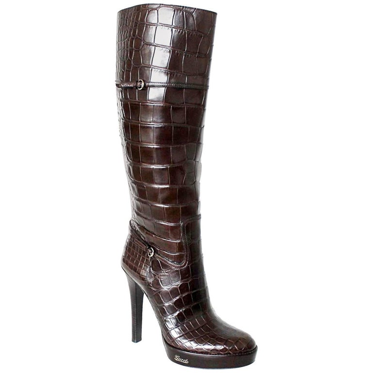 Gucci Brown Extra Tall Alligator Skin Boots