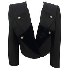 1990s Valentino Black Wool and Velvet Jacket Double Breasted